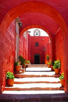 Monastery of Santa Catarina da Siena - Arequipa, Peru Happy Week End, Simply Red, Stairway To Heaven, Red Aesthetic, Jolie Photo, Interior Exterior, Exterior Paint, Shades Of Red, Stairways