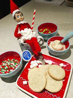 Elf on the Shelf with Hot Chocolate and Sugar Cookies, ready for the kids when they wake up for breakfast