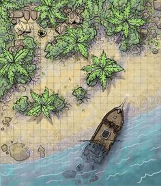 Fantasy Beach Map: Shipwreck D&D Map with Camp, Jungle, Palm Trees, and Rocky Outcrop (Digital Illustration) Fantasy Map Making, Fantasy World Map, Fantasy City, Dungeons And Dragons Homebrew, D&d Dungeons And Dragons, Dnd World Map, Pathfinder Maps, Ship Map, Pen & Paper