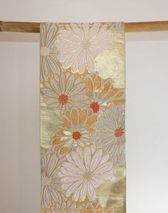 Authentic Vintage Japanese Gold Floral Fukuro Obi, Table Runner, Home Decor by CJSTonbo on Etsy