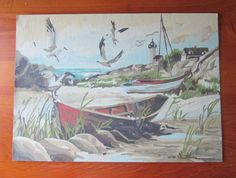 Sea Shore by Craft House 25GG Vintage 1981 Paint by Number PBN Unframed Painting, $40.00