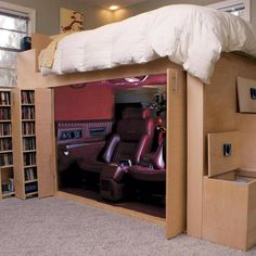 Reader Project Loft Bed (and a lot more) is part of Diy loft bed Skill and imagination can be dangerous, turning small problems into huge solutions But here's a chainreaction project that worked - Dream Rooms, Dream Bedroom, My New Room, My Room, Bunk Bed Designs, Bunk Beds, Bedroom Decor, Bedroom Ideas, Interior Design