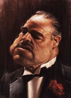caricature of Marlon Brando in his role as Vito Corleone in the Godfather Cartoon Faces, Funny Faces, Cartoon Art, Caricature Artist, Caricature Drawing, Drawing Art, Funny Caricatures, Celebrity Caricatures, Marlon Brando