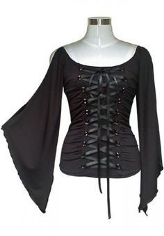 Black Gothic Tie up Shirt, this top has a lot of stretch to it and the lace up front makes it easy to adjust to your perfect size! $27.99