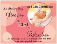 Live in the LA or IE Area. Check out Entourage Hair Salon for Spa Services! I'm the Esthetician and Makeup Artist there. We're having great Mother's Day Specials. 50 European Facial 60min. 30 Back Massage 30min. 35 Make-up Application. Limited time offer.