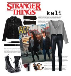 """""""kali stranger things 2"""" by daniellededwards ❤ liked on Polyvore featuring Versace, Halogen, Inglot, Giorgio Armani and Bobbi Brown Cosmetics"""