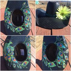 Peacock hat Custom cowboy hat Hand painted Custom creation Cowgirl hat