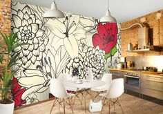 Red Flowers Custom Wallpaper Mural Print by Jw & Shutterstock Diy Home Decor, Room Decor, Wall Decor, Wall Design, House Design, Diy Wall Painting, Wall Drawing, Mural Wall Art, Interior Decorating