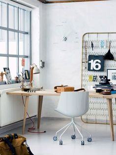 Interiors / home office - like the industrial window and white washed cement/plaster wall on imgfave