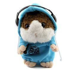 Cute DJ Rapper Talking Hamster Toy Educational Talking Toy Recording Hamster for Kids