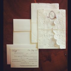 I designed this lace doily wedding invitation for fairly cheap! And it is still elegant! (loriBdesigner@gmail.com)