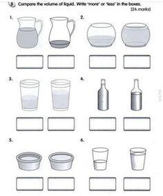 capacity worksheets for kindergarten worksheets | Volume Of Liquid