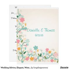 Shop Wedding Advice, Elegant, Watercolor Comment Cards created by longdistgramma. Wedding Advice Cards, Wedding Tips, Wedding Planning, Custom Invitations, Party Invitations, Happy Marriage, White Envelopes, Paper Design, Special Day