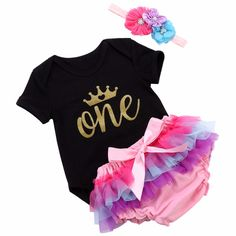Gorgeous 1st birthday outfit! 1st Birthday Outfits, Baby Girl Birthday, Newborn Girl Outfits, Dress Link, Onesies, Bodysuit, Princess, 1 Year, Affair