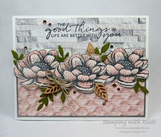 Stampin' Up! Tasteful Touches Card for the Happy Inkin' Thursday Blog Hop - Stamping With Kristi Fun Fold Cards, Folded Cards, Hand Stamped Cards, Mothers Day Cards, Catalogue, Paper Cards, Stamping Up, Creative Cards, Homemade Cards
