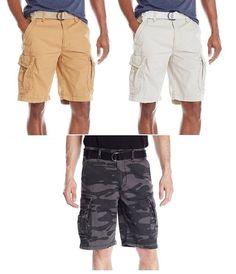 NWT Men/'s Legachi New York Navy Blue Cargo Pocket Elastic Waist Shorts ALL SIZES