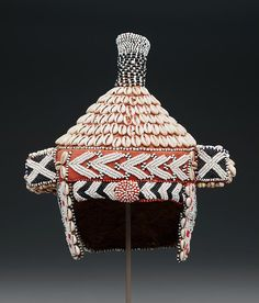 Bead-embroidered prestige hat (mpaan). Date: 20th century.  Democratic Republic of the Congo. Culture: Kuba peoples.