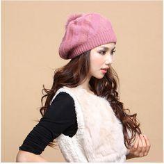 womens beanie hat rabbit fur hairball knit hat for winter