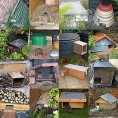A selection of hedgehog houses made by Hedgehog Champions