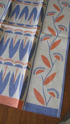 Vintage Linen Dish Towel Blue and Peach Flowers