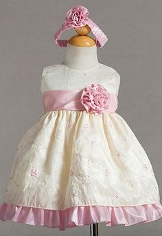 Cute Infant Floral Embroidered Taffeta Flower Girl Dress - Infant (0-24mo) - Shop by Size