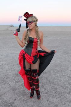 Burlesque HARLEY QUINN COSTUME Overbust Corset by VivaWonderWoman