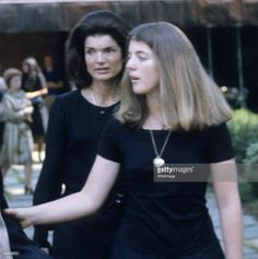 Jackie Onassis and daughter Caroline Kennedy. Funeral for Prince Stanislaus Radziwill - July 7th, 1976