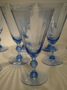 Vtg Set of 9 Sapphire Blue Optic Glass Stemmed Iced Tea Water Wine Glasses