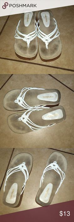 Womens Flip Flops Size 9 used Candies flip flops, wedges, with white leather, you can tell where the feet have been in them, but you can't see that when they are on. Don't agree on price then make different offer Candie's Shoes Wedges