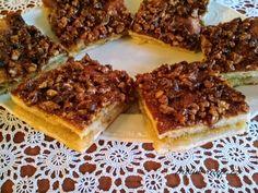 Křehký jablečný koláč s karamelem a ořechy Russian Recipes, Polish, Food, Vitreous Enamel, Essen, Meals, Yemek, Nail, Eten