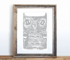 Native American Totem Owl Small Screenprint Choose by Monorail, $12.00