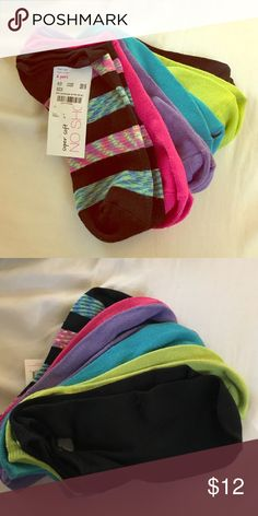 Brand new pack of socks! Super soft !!! No show socks. Pack of 6. Colors: black, lime green, turquoise blue, purple, pink and black with pattern (shown in pictures). Brand new. Still has tag - never opened. Other
