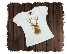 Floral Deer Personalized Custom Printed T-Shirt - Available in Long or Short Sleeves Boutique Shirts, Size Chart, Deer, Short Sleeves, T Shirts For Women, Printed, Floral, Cotton, Clothes