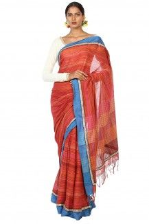 Makhmal Handwoven Pomegranate Striped Soft Cotton Saree By Ron Dutta  Rs. 3,015