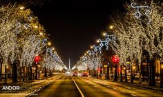 Christmas decoration lights on Andrássy Avenue (UNESCO World Heritage Site)