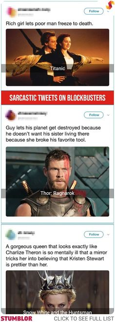 19 Sarcastic Tweets From People Who Captured the Very Essence of Blockbuster Movies #movie #movies #blockbusters #tweet #tweets #sarcastic #irony #fun #funny #humor #interesting #epic #stumblor
