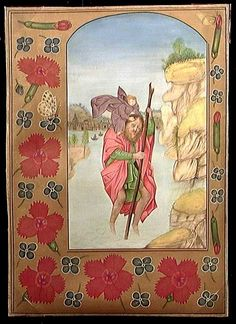 A MEDIEVAL STYLE ILLUMINATED LEAF, 20th century. Beautifully handpainted work on old vellum, the reverse of the sheepskin with traces of medieval writing visible. The type from a Book of Hours depicting Saint Christopher.