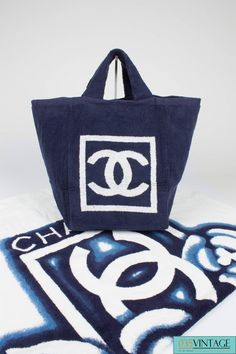 43161ef9b454 Chanel Beach Bag and Towel - navy blue white terry cloth