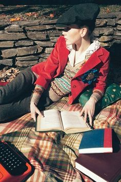 """Kate Somers reading in """"Smarty Pants."""" Photograph by Horst Diekgerdes for Teen Vogue, August """"Lend mensware a girly touch by trading a basic button-down for one with feminine frills. Rockabilly, Tweed Run, Ivy League Style, Librarian Chic, Corduroy Jacket, Sweater Jacket, Vest, Striped Scarves, Fair Isle Knitting"""