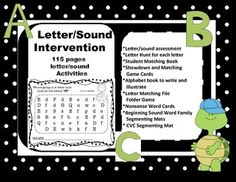 This bundle includes all you need for the beginning or struggling learner. It contains 115 pages of letter and sound instruction. Laminate and use as word work centers or copy to use as worksheets.   Included: *Upper and lower case letter/sound assessment sheet *26 letter hunt sheets to laminate for small group or individual use or print as worksheets *Flashcards to use for Showdown or Matching games *Student uppercase/lowercase matching book *Student ABC book to illustrate and write ... Letter Matching, Matching Games, Letter Assessment, Letter Sound Activities, Word Work Centers, Nonsense Words, Letter Sounds, Activity Games, Writing A Book