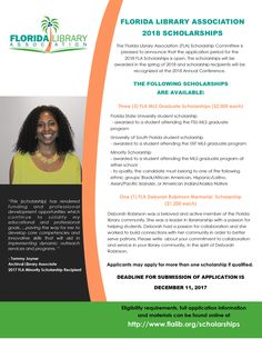 Florida Library Association 2018 Scholarships! Applicants may apply for more than one scholarship if qualified #Scholarships #FLACON2018 #FSU #USF