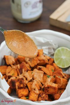 Mexican Sweet Potatoes w/ 5 MINUTE Mexican Tahini Dip by http://TheVegan8.com