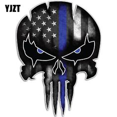 Online Shop YJZT Thin Blue Line Punisher Skull Reflective Personalized Car Stickers Motorcycle Decals Logo Punisher, Punisher Skull Decal, Punisher Tattoo, Thin Blue Line Decal, Thin Blue Lines, Car Decals, Bumper Stickers, Vinyl Decals, Skull Stencil