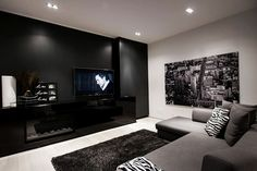 Nice and cozy living room with black, white, and grey color scheme.