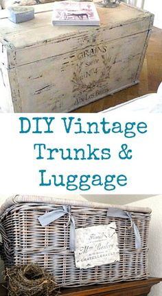 DIY Vintage Trunks and Luggage. I love these DIY Home Decor projects! These luggage pieces were transformed with paint and image transfers.