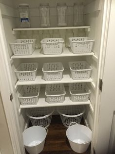 Dollar store pantry organization. I love these bins i got at the dollar store to organizw my pantry. It's so pretty, convinient yet affordable.