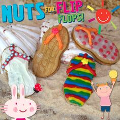 Celebrate the unofficial start of summer by creating these flip flop cookies! http://www.lazoo.com/activity/2013/05/27/nuts-4-flip-flops/ #flipflops #summer