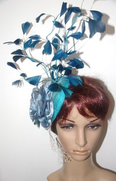 One Of A Kind Original Teal rose feather by TwistedInTheTropics Fascinator, Headpiece, Feather Tree, Ascot, Derby, Teal, The Originals, Disney Princess, Rose