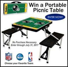 >> http://virl.io/Suxqubvz Win a Portable Picnic Table (NFL, NBA, or College) valued at $155!