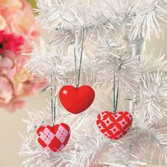 Red heart shaped ornaments for a Valentine's Day Tree - Holly Day
